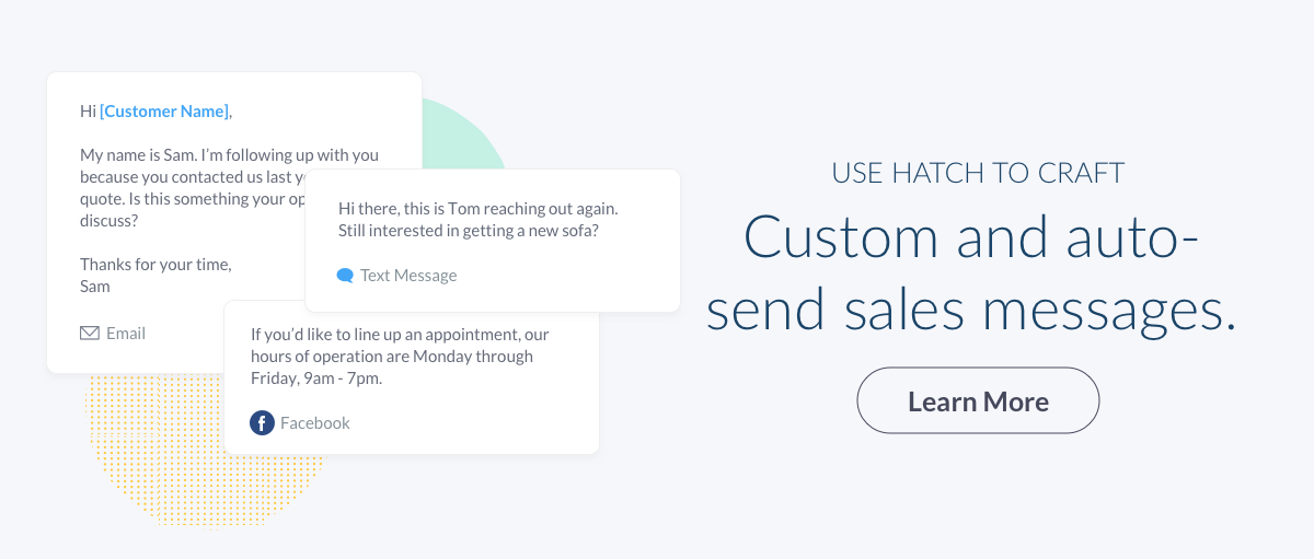 Custom and auto-send sales messages