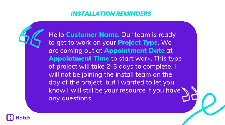 Installation Reminders